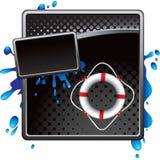 Life ring on black halftone advertisement Stock Image