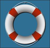 Life Ring On Blue. A life ring on blue square background Royalty Free Stock Photography
