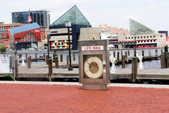Life Ring. Downtown at the Inner Harbor in Baltimore, Maryland Stock Image