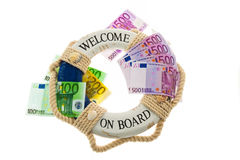 Life ring and the euro. Salvation of Greece. Symbol of national debt Royalty Free Stock Images