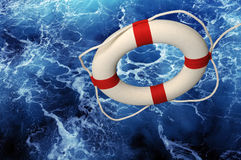 Free Life Ring Falling On Churning Water Royalty Free Stock Image - 9089016