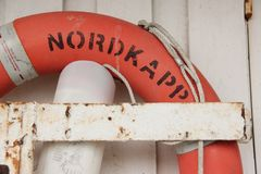 Life Ring. A Life Ring hanging in the harbour of Honningsvag, Norway Royalty Free Stock Photography