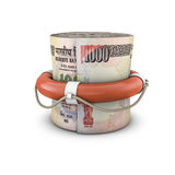 Life ring money roll rupees Royalty Free Stock Photography