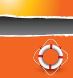 Life ring on orange ripped banner Stock Photography