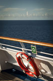 Life Ring. On the railing of a cruise ship royalty free stock photo
