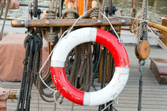 Life ring on sailing boat Stock Photography