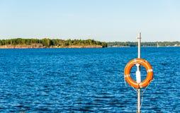 Life ring on Susisaari island in Helsinki Stock Photos
