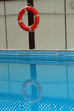 Life ring at a swimming pool Stock Photo