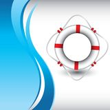 Life ring on vertical blue wave background Royalty Free Stock Images