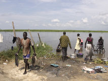 Life at the river in South Sudan Stock Photography