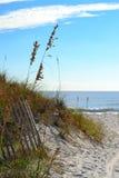 Life's a Beach / Beach Life. Beach entrance, on a beautiful, clear morning Stock Photos