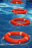Life saver. A view of a bright orange life savers at the pool Stock Images