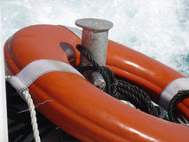 Life saver. On the back of a boat Stock Photos