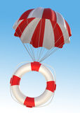 Life Saver and Parachute. Digitally Generated Image Stock Photo