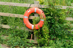 Life saver ring on fence Royalty Free Stock Image