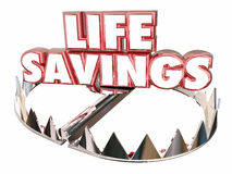 Life Savings Protect Money Wealth Resources Bear Trap. 3d Words Royalty Free Stock Images