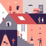 Life scenes - flat design style illustration. Cute characters at home, at work, teenagers walking on the street, day and night. A composition with rooms Stock Image
