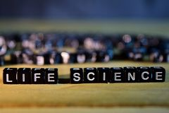 LIFE SCIENCE concept wooden blocks on the table. royalty free stock images