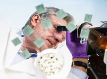 Life science researcher microscoping. Stock Image