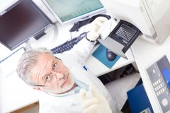 Life scientist researching in the laboratory. Royalty Free Stock Photos