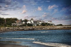 Life by the sea. Coastal homes in new england Royalty Free Stock Photography
