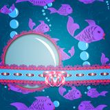 Life in the sea. Fish background. Suitable for decoration flyer, cover, card or invitation. Stock Photo