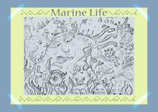 The Life Of The Sea. Vector illustration. Fictional world Stock Photos