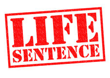 LIFE SENTENCE. Red Rubber Stamp over a white background Royalty Free Stock Photos