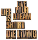 Life is short, live your dream, die living. A collage of three phrase wisdom reminders - isolated text in vintage letterpress wood type Royalty Free Stock Images