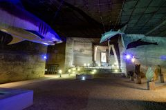 Life-size Megalodon, Kentriodontid dolphin and fossils. The so called `theme park` exhibition at the limestone quarry cave in Fertorakos, Hungary. A life-size stock images