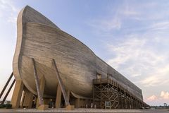 Life size Noahs ark. Ark Encounter is a Christian evangelical and fundamentalist theme park that opened in Grant County, Kentucky on July 7, 2016.[2][3] The Stock Photo