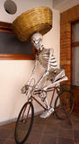 Life size skeleton riding a bike as a bread seller Stock Photography