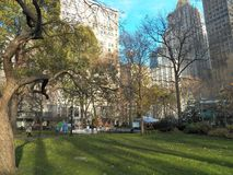 Life-sized gingerbread houses pop-up in Madison Square Park Royalty Free Stock Images