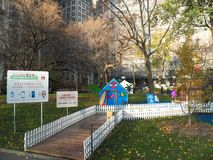 Life-sized gingerbread houses pop-up in Madison Square Park Stock Images