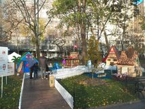 Life-sized gingerbread houses pop-up in Madison Square Park Royalty Free Stock Photo