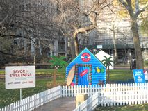 Life-sized gingerbread houses pop-up in Madison Square Park Stock Photos