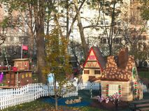 Life-sized gingerbread houses pop-up in Madison Square Park Stock Photo