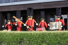 Life sized `Nutcracker` toy soldiers in a garden royalty free stock photography