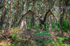 Pterodactyl dinosaur statue Royalty Free Stock Photos