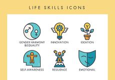 LIfe skills icons. Life skill concept icons for web, app, presentation, etc Stock Image