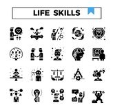 Life and working skill glyph design icon set. Life skill glyph design icon set for presentation, book, website, game online etc royalty free illustration