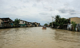 Life in the slums of Bangkok. Thailand, river Royalty Free Stock Images