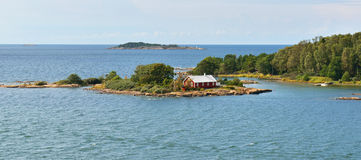 Life on small island. Rocky island of Baltic Sea Stock Photos