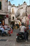 Life of a small southern Italian town. Local residents usually spend their time. royalty free stock images