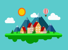 Life of small town. Summer is here. Building, sun, clouds illustration Stock Image