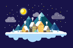 Life of small town. Winter is here. Moon and clouds, snowflakes illustration Royalty Free Stock Photography
