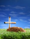 Life smoked. A tobacco tomb in a cemetery Royalty Free Stock Image