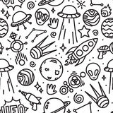 Life in space seamless vector pattern black and white Royalty Free Stock Photos