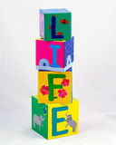 Life spelled with blocks Stock Photography