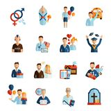 Life Stages Icons Set Stock Images